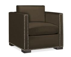 Branden Chair, Down Blend, Luxe Velvet, Espresso, Polished Nickel
