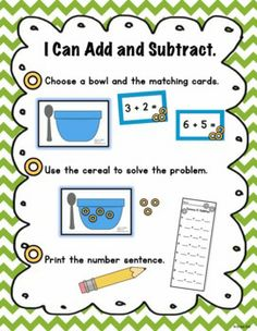 Make learning addition and subtraction fun and delicious! This product contains a math center and worksheets that use cereal as manipulatives. Any O shaped cereal will work!
