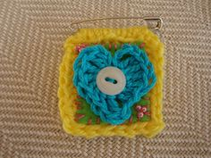 crocheted heart brooch twinchie yarn by ContainedHappiness on Etsy