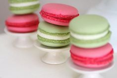 bright pink and green french macarons