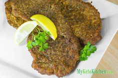 Low Carb Beef Schnitzels recipe on a plate with lemon for ketogenic diets