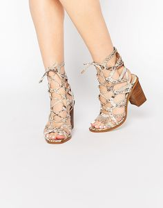 Image 1 - River Island Lace Effect Block Heeled Sandal