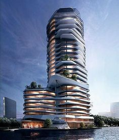 Modern building by George_daou_visualization – Architecture is art Office Building Architecture, Creative Architecture, Unique Architecture, Futuristic Architecture, Facade Architecture, Architecture Visualization, Residential Architecture, Future Buildings, Modern Buildings