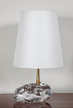 Angelo Brotto; Glass and Brass Table Lamp, 1980s.