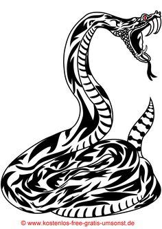 Kostenloses Schlangen Tattoobild Tattoovorlage schwarz Tattoopicture black Snake Tribaltattoo Tattomotive