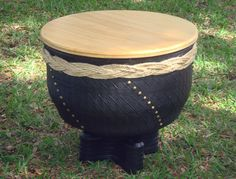 ReCycled Tire & Wood Table by FLATireDesigns on Etsy