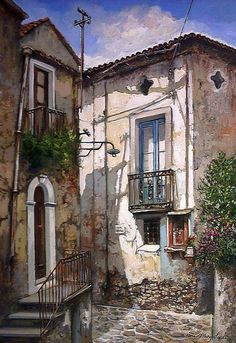 Lights and Shadows of The Old Town ~ Francis Mangialardi (Italy) Watercolor Landscape, Landscape Art, Watercolor Paintings, Sketch Painting, Watercolour Tutorials, Urban Sketching, Fabric Painting, Beautiful Paintings, Monuments