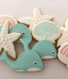 Whale cookies by Miss Biscuit Summer Cookies, Fancy Cookies, Iced Cookies, Cut Out Cookies, Cute Cookies, Cupcake Cookies, Cupcakes, Whale Cookies, Mermaid Cookies