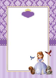 moldura convite princesa Sofia Princess Sofia Invitations, Princess Sofia Birthday, Princess Sofia The First, Sofia The First Birthday Party, Princess Theme, Sofia The First Characters, Tangled Party, Purple Birthday, Birthday Frames