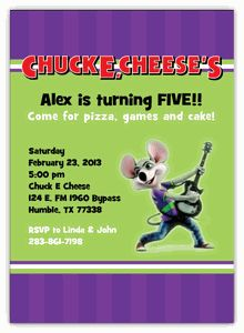 Chuck e cheese birthday party invitation diy printable party chuck e cheese personalized invitation filmwisefo
