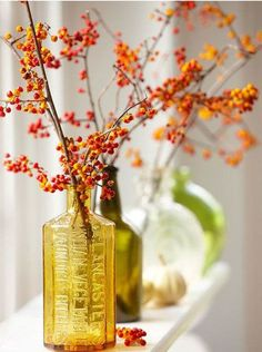 Simple but beautiful decorating idea for fall. Berries ind warm autumn tones in a pretty vase.