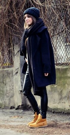 Especially for all the edgy street stylers out there, a look made up of leather, oversized wool and classic Timberland boots.