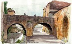 URBAN SKETCHERS FRANCE: Puy l'Evêque, enfin un pont ...