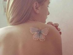 Butterfly White Ink Tattoo