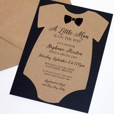 Bow tie baby shower invitations printable navy blue silver baby baby shower onesie invitation baby boy invitation bow tie invitation little man shower kraft brown and black quantity 25 filmwisefo