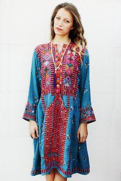 Blue Multicolor Afghani Dress от TavinShop на Etsy