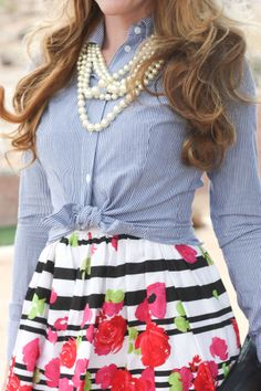 Mini Me Style: Floral and Pinstripes/ seersucker (I love this but it needs blue in the floral pattern)