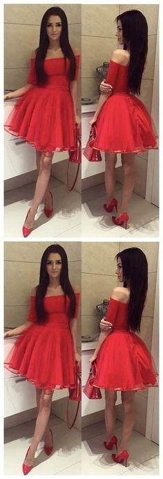 Off Shoulder Short Sleeves Red Short Cheap Homecoming Dresses Online, CM567