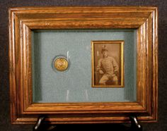 ButtonArtMuseum.com - confederate CDV Louisiana Pelican Button 1860's War Framed We just bought one of these for our museum