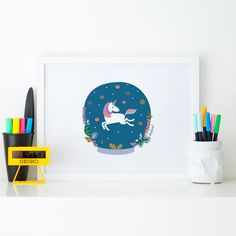 Illustration print Unicorn and donuts Original Zezling by Zezling Nursery Decor, Room Decor, Unicorn Illustration, 1st Birthday Gifts, Beautiful Drawings, Poster Wall, Illustrations Posters, Gifts For Kids, Donuts