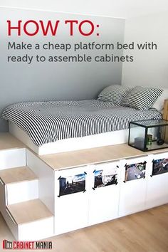 Get a unique look and extra storage when you build this easy and affordable platform bed. This DIY inspiration used 7 ready to assemble cabinets in varying sizes and cost less than $500 for the entire set up. Get free shipping on your ready to assemble cabinets at Cabinet Mania.