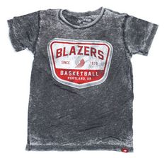 trail blazers t shirts | Portland Trail Blazers Neo Fashion Lightwash Burnout Tee - Charcoal