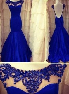 2016 royal Blue Evening Dresses Jewel Backless Sleeveless Lace Sheer Mermaid Taffeta Ruffles Appliques Flowers Prom Gown