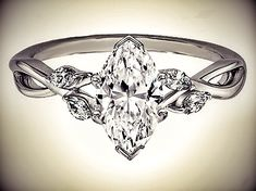 Marquise Diamond Engagement Ring Floral Marquise Vine