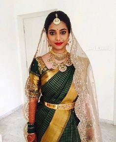 50 Stunning Bridal Sarees That Are Our Favourites From The Year 2017 Indian Bridal Sarees, Indian Wedding Wear, Bridal Silk Saree, Saree Wedding, Silk Sarees, Saris, Wedding Veil, Bridal Blouse Designs, Saree Blouse Designs
