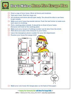 FREE PRINTABLE: How to make a home fire escape plan.
