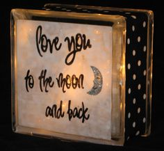 Moon and Back Glass Block Light by lightsinthesquare on Etsy