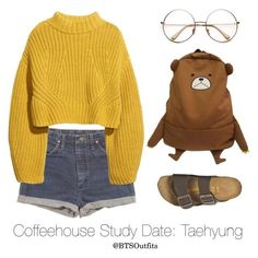 Coffeehouse Study Date: Taehyung by btsoutfits on Polyvore featuring polyvore fashion style H&M Birkenstock Wrangler clothing