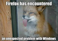 Firefox has encountered an unexpected problem with Windows! Nerd humor!