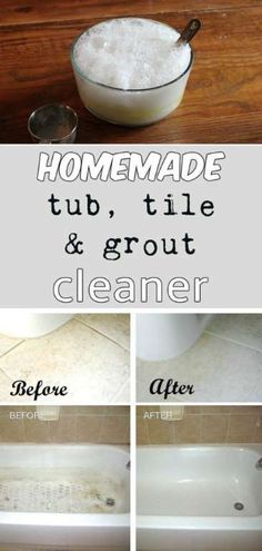 HOMEMADE TUB, TILE, AND GROUT CLEANER You'll need: 1/2 cup baking soda, 1/4 cup hydrogen peroxide and 1 teaspoon of liquid dish soap. Mix well all ingredients and your homemade rock-star cleaning solution is now ready to use.... (To Be Determined) - My Cleaning Solutions