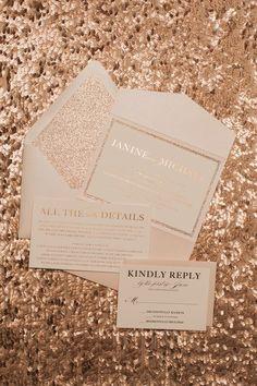 ALYSSA Suite Glitter Pocket Folder Package, blush, rose gold foil, rose gold glitter wedding invitations, foil stamping, pocket folder wedding invitation