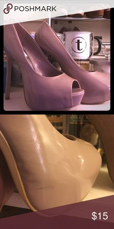 Nude Steve Madden Heels Nude heels, with a thick sole. Used but still in great shape. Does have a small black smudge on the right shoe as shown in the picture. NO TRADES!!!! Steve Madden Shoes Heels