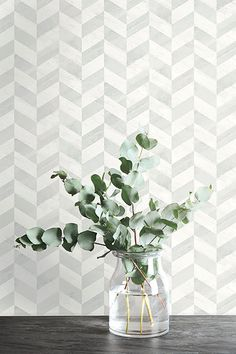 I think I would use this pattern in a bathroom as the small tile suits a bathroom while the wood design is softer than a hard tile finish. Main Colors, Colours, Small Tiles, Paper People, Home Wallpaper, Pattern Books, Wood Design, Chevron, Glass Vase