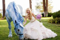Why This Bride Had 4 Wedding Dresses #refinery29  http://www.refinery29.com/hayley-paige-wedding-photos#slide-7  A fairytale come to life. The rescue horse was hand-painted using organic, nontoxic dye....