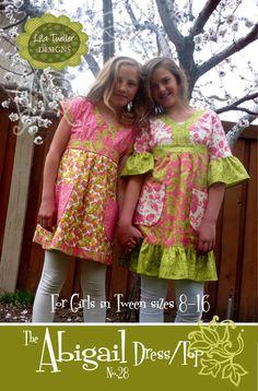The Abigail Dress/Top Pattern for Girls 8-16 von LilaTuellerDesigns