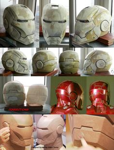This is an Old Project. I originally bought this helmet from some guy who obviously didn& finish the job and took a mold. Upon some fine patching with bondo with a flat knife I discovered a lot of. Iron Man Cosplay, Cosplay Diy, Iron Man Helmet, Iron Man Suit, Iron Man Armor, Iron Men, Spiderman, Batman Vs Superman, Halloween Kostüm