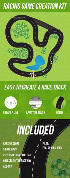 Racing Game Creation Kit — Vector EPS #seamless #background • Available here → https://graphicriver.net/item/racing-game-creation-kit/12113487?ref=pxcr
