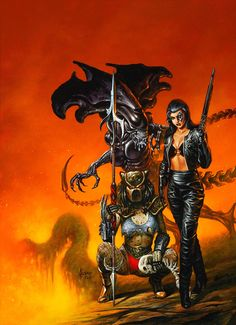 "redskullspage: ""Terminator, Predator and Alien Queen by Joe Jusko """