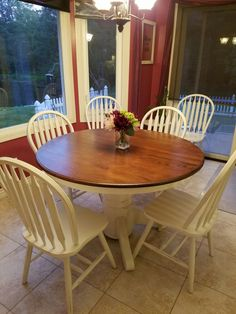 before and after round oak table makeover redo upcycled dining rh pinterest com