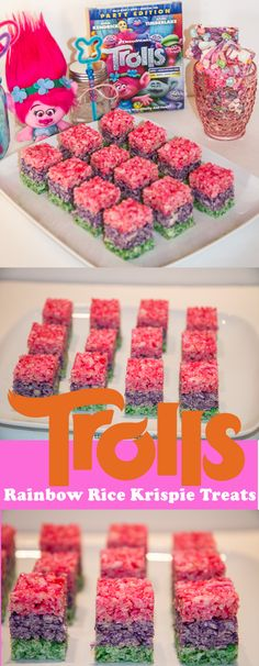 TROLLS Rice Krispie Treats | Rainbow Rice Krispie Treats | http://www.tiarastantrums.com/reviews/dreamworks-trolls-family-move-night-ideas #TROLLS #RiceKrispie #RiceKrispieTreats