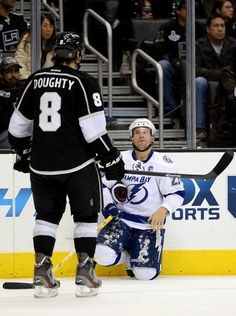 Drew Doughty #8 Los Angeles Kings and Martin St. Louis #26 Tampa Bay Lightning