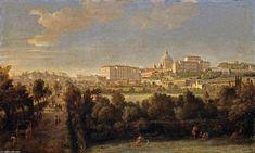 'Rome: Vue de Saint-Pierre et le Vatican Vu de Prati Di Castello', huile sur toile de Gaspar Van Wittel (Caspar Andriaans Van Wittel) (1653-1736, Netherlands)