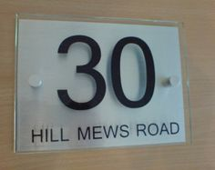 Door number and name plaque bespoke custom made por mulberryprint