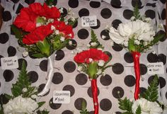 Carnation boutonnieres. Made by The Floral Touch. #weddings #flowers #boutonnieres