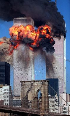 World Trade Center Attack September 11 2001 - 2002 Pulitzer Prize, Spot News Photography, Steve Ludlum, New York Times I remember what i was doing this day, watching it on grade history class. What a sad sad day World Trade Center Attack, Trade Centre, 11 September 2001, 911 Never Forget, Don't Forget, We Are The World, Jack Kirby, Interesting History, World History