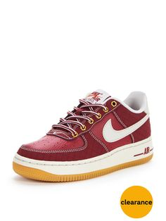 Nike Air Force 1 Premium Leather in burgundy red